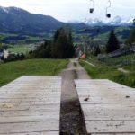 Blick auf den unteren Streckenteil. Ab hier führen alle Strecken am selben Trail ins Tal.