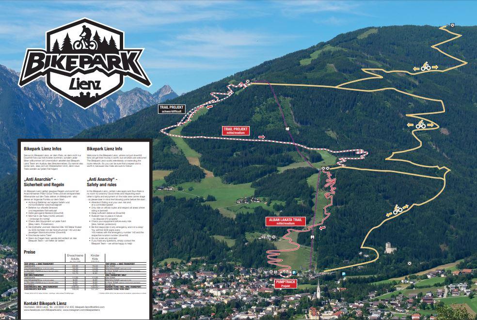 Streckenplan Bikepark Lienz